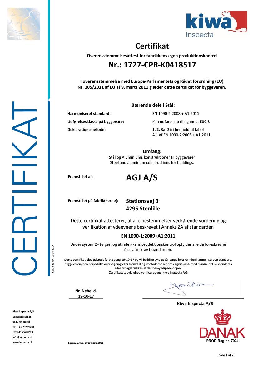 AGJ Certifikat EN1090 - 2017-1