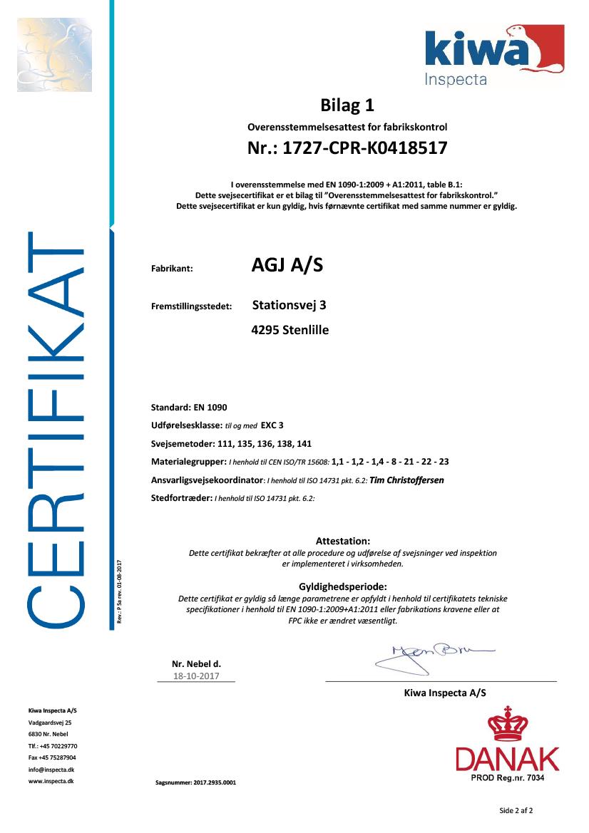 AGJ Certifikat EN1090 - 2017-2