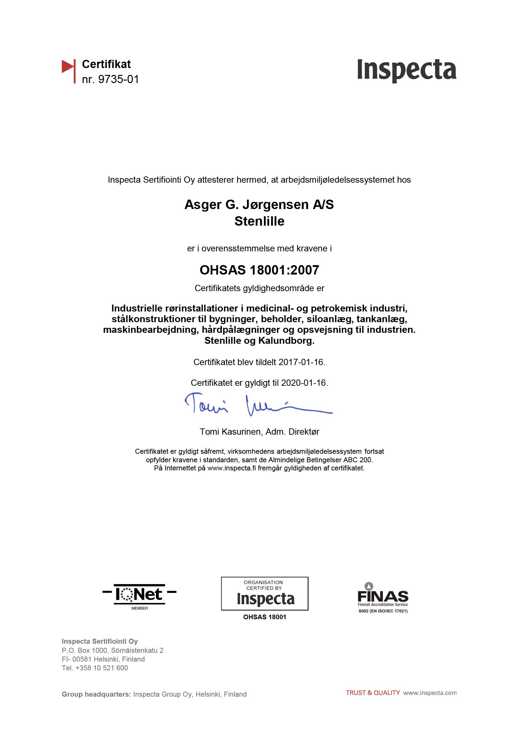 OHSAS 18001 AGJ 2017